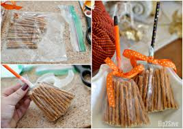 Pretzel Bags For Favors Create These Cute Broomsticks From Pretzels Easy Non Candy