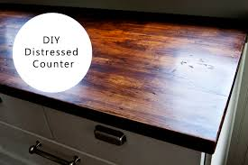 Diy Wooden Kitchen Countertops Furniture Chic Diy Distressed Butcher Block Countertop With