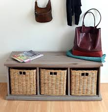 Large Storage Bench Acacia Bench With Wicker Baskets Stunning Large Storage Bench