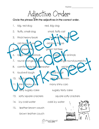 adjective order worksheet free squarehead teachers