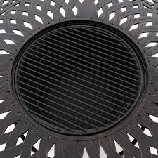 fire pit cooking grate villa flora 48 inch round cast aluminum wood burning patio fire