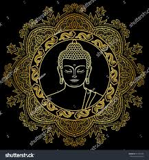 Decorative Buddha Head Buddha Head Round Mandala Decoration Gold Stock Vector 512494786