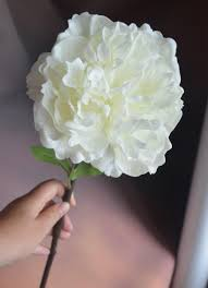 real touch white peony flowers single stem artificial open peony
