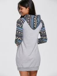 geometric hoodie mini long sleeve dress gray casual dresses xl