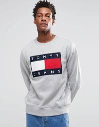 hilfiger sweater mens hilfiger denim sweatshirt with flag logo in grey shop