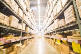 blurred warehouse or storehouse shopping home decor in department