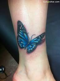 blue butterfly on ankle photos and ideas