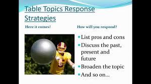 Table Topics Toastmasters Toastmasters 101 Impromptu Speaking Course Youtube