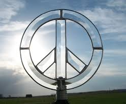 peace sign tree topper clear beveled glass peace
