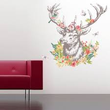 vintage colorful flower deer bird walls stickers living room vintage colorful flower deer bird walls stickers living room bedroom wall decals christmas birthday gift home decor mural poster in wall stickers from home