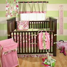 Dark Wood Nursery Furniture Sets by Two Tones Wall Paint On Pink And Brown Baby Room Ideas Feat
