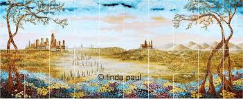 Ceramic Tile Mural Backsplash fields of tuscany landscape italian tile mural backsplash