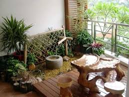 natural looking balcony furniture ideas with wooden deck and