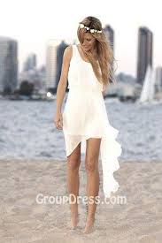 casual wedding dress sleeveless scoop neck summer high low casual wedding dress