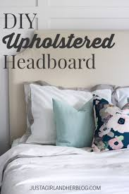 diy upholstered headboard with nailhead trim just a and her