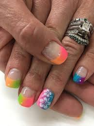 rainbow ombré french stamped gel nails gel nail designs pinterest