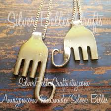 elephant necklace made from upcycled fork silverware fork