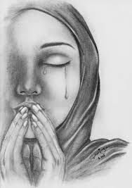 arabic girls pencil art muslim woman in hijab and hat pencil