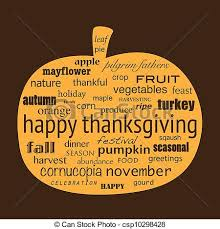 vector illustration of happy thanksgiving word collage in shape of