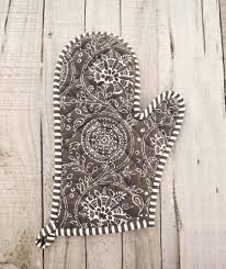 Home Decor Accessories Online Store Brown Oven Mitt Quilted Glove Kalamkari Print Kitchen Accessory