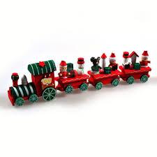 1 set wooden christmas train railway wood locomotive christmas