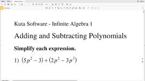 kutasoftware algebra 1 adding and subtracting polynomials part 1
