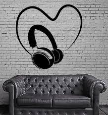 music gaming movie wall vinyl decal wallstickers4you headphones sound music heart positive mural wall art decor vinyl sticker z667