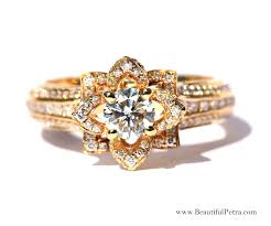 white gold engagement ring with yellow gold wedding band unique flower diamond engagement or right ring