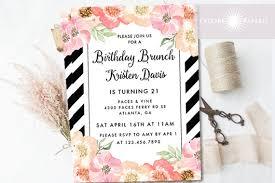 birthday invite birthday brunch invitation floral birthday