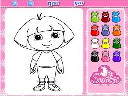 dora the explorer coloring game play youtube