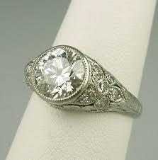 estate engagement rings antique deco era traub platinum engagement ring