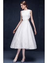 wedding dress high neck vintage lace tea length wedding dresses backless a line high neck
