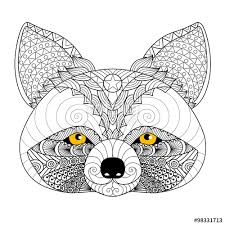 hand drawn raccoon for coloring book for tattoo logo shirt