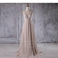 cream chiffon bridesmaid dress deep v neck wedding dress