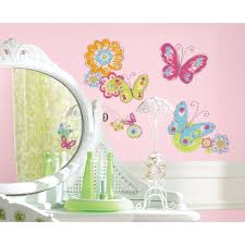 flowers wall decals girls butterfly room stickers baby decor ebay flowers wall decals girls butterfly room stickers baby decor ebay