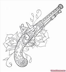 flowers and winged gun tattoo design tattoo viewer com