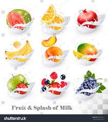 big collection icons fruit milk splash stock vector 583170811