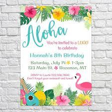 luau birthday party hawaiian themed invitation tiki luau birthday party invitation