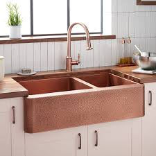 bowl kitchen sink for 30 inch cabinet 36 tegan 70 30 offset bowl hammered copper farmhouse sink