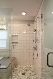 fabulous bathroom walkin shower white subway tile about modern