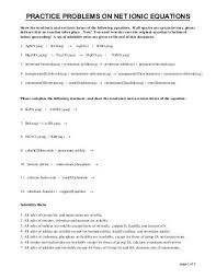 net ionic equations key