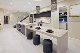 gorgeous sleek kitchen with double islands also calm beige wall