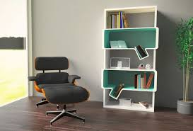 interior white green modern stained solid wood standard bookcase