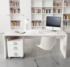 modern brown wooden working desk decor with white wall book clean small moden home office spaces with white wall and furniture painted interior color decor combined