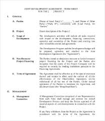 Project Finance Term Sheet Exle by Development Agreement Template 9 Free Word Excel Pdf Format
