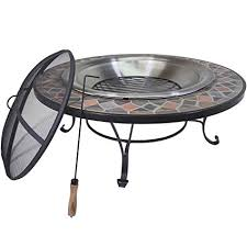 slate fire pit table amazon com titan 40 round mosaic slate top fire pit table w log