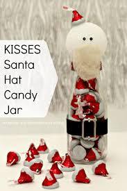 kisses santa hat candy jars made with hershey u0027s kisses santa hat