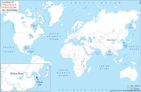 world rivers map where is yellow river and yellow sea located on world map