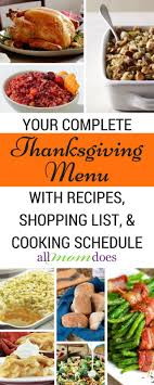 your complete thanksgiving menu cooking schedule and shopping