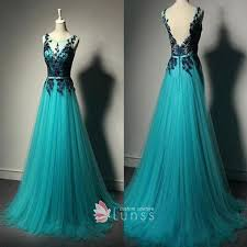 teal tulle black lace appliqued v neckline teal tulle a line floor length
